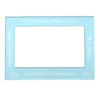 60th Wedding Anniversary Blue Magnetic Photo Frame