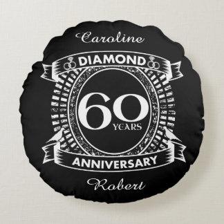 60th wedding anniversary diamond crest round cushion