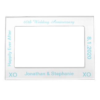 60th Wedding Anniversary White Blue Photo Frame Magnetic Photo Frame