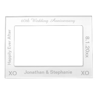 60th Wedding Anniversary White Magnetic Frame