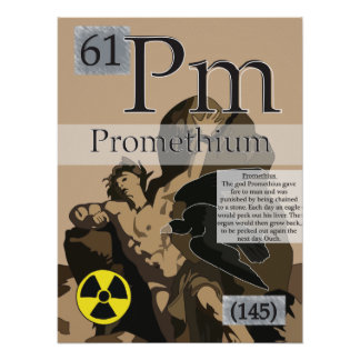 61. Promethium (Pm) Periodic Table of the Elements Poster