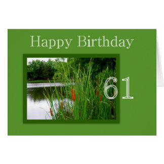 61st Happy Birthday Cat Tails on Pond Card