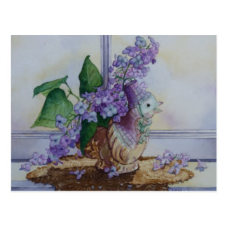 6298 Lilacs in Bird Vase Postcard