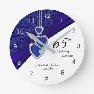 65th / 45th Sapphire Wedding Anniversary Keepsake Round Clock