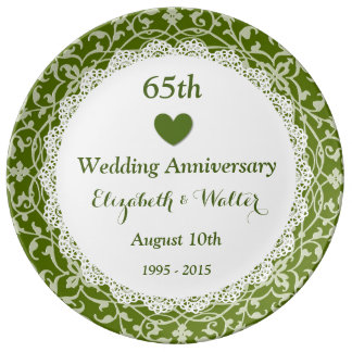 65th Wedding Anniversary Olive Green Vines B05 Plate