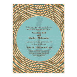6.5x 8.75 Nautical Retro Themed Wedding Invitation