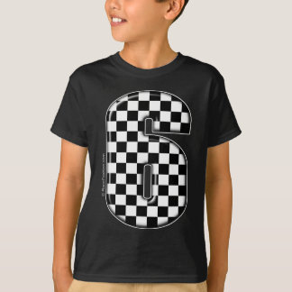 6 checkered auto racing number T-Shirt