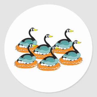 6 Geese A Laying Classic Round Sticker