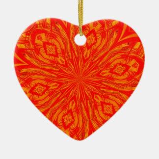 6 Petal Abstract Orange Crush Christmas Ornaments