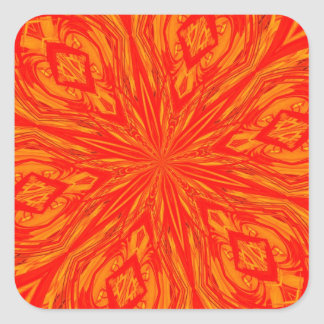 6 Petal Abstract Orange Crush Stickers