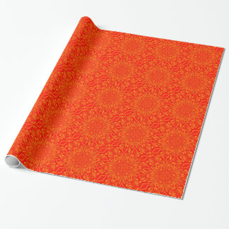 6 Petal Abstract Orange Crush Wrapping Paper