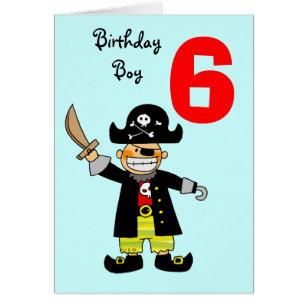 6 year old boy birthday cards invitations zazzle 6 year old pirate boy card bookmarktalkfo Choice Image