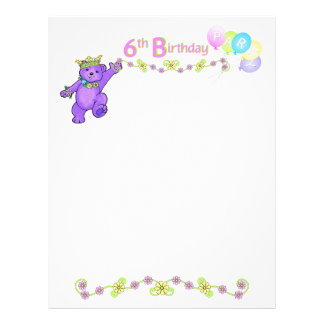 6th Birthday Party Princess Bear Scrapbook Paper 2 21.5 Cm X 28 Cm Flyer