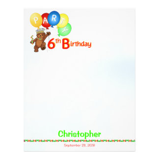6th Birthday Party Royal Bear Scrapbook Paper 1 Flyers
