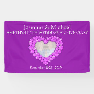 6th wedding anniversary purple amethyst banner