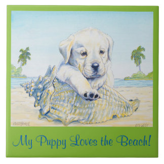 6x6 Tile,  My Puppy Loves the Beach! Large Square Tile