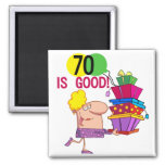 70 is Good Birthday Tshirts and Gifts Square Magnet