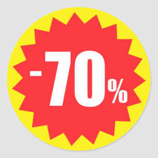 70 percent sale discount stickers, yellow and red round sticker