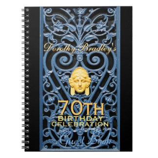 70h Birthday Celebration Art Deco Custom Guest B Spiral Note Books