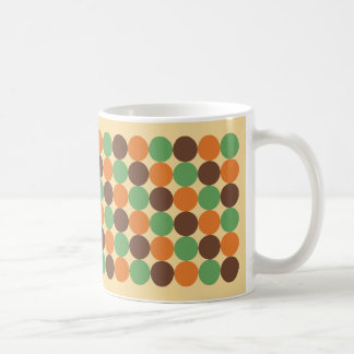70's Dots Avocado Green Burnt Orange Harvest Gold Coffee Mug