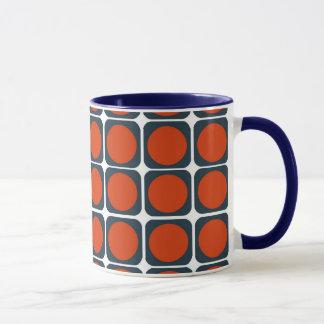 70s Retro Pattern in Orange & Blue Mug
