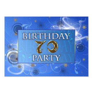 70th Abstract lights Birthday party invitation