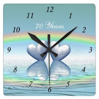 70th Anniversary Platinum Hearts Square Wall Clock