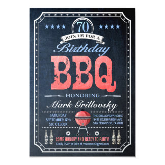 70th Birthday BBQ Invitations | Chalkboard
