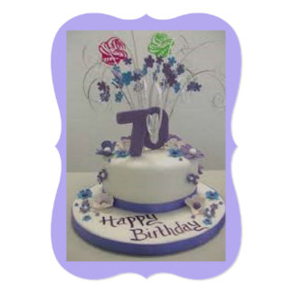 70th Birthday Cake 13 Cm X 18 Cm Invitation Card