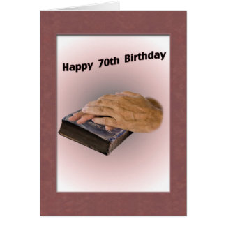 70th Birthday Card with Aged Hands and Bible