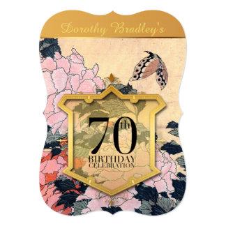 70th Birthday Celebration Butterfly & Peonies - 13 Cm X 18 Cm Invitation Card