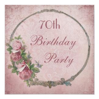 70th Birthday Chic Vintage Roses Damask 13 Cm X 13 Cm Square Invitation Card