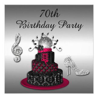 70th Birthday Disco Diva Cake and Sparkle Heels Invites