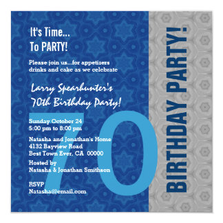 70th Birthday Funny NOT Over the Hill Z70D 13 Cm X 13 Cm Square Invitation Card