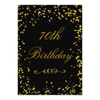 70th Birthday Glamorous Gold Confetti Card