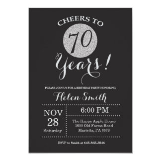 70th Birthday Invitation Black and Silver Glitter
