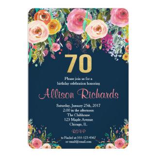 70th birthday invitation floral watercolor navy