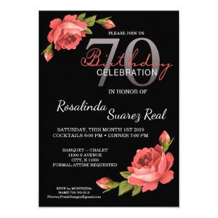 70th Birthday Invitation Rose