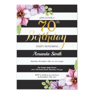 70th Birthday Invitation Women. Floral Gold Black