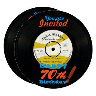 70th Birthday Invite Retro Vinyl Record 45 RPM