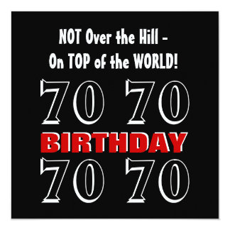 70th Birthday Modern Red Silver Black Funny W1029 13 Cm X 13 Cm Square Invitation Card