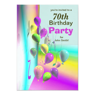 70th Birthday Party Balloon Wall Personalized Invitations