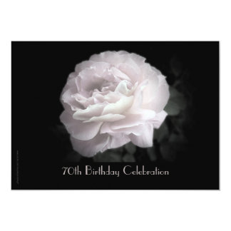 70th Birthday Party Celebration Pale Pink Rose 13 Cm X 18 Cm Invitation Card