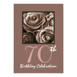70th Birthday Party CHOCOLATE Roses W1114 13 Cm X 18 Cm Invitation Card