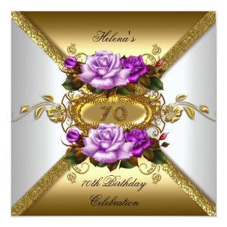 70th Birthday Party Elegant Roses Purple Gold 13 Cm X 13 Cm Square Invitation Card
