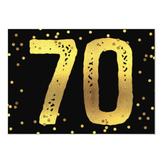 70th Birthday Party Faux Gold Foil Confetti Black 13 Cm X 18 Cm Invitation Card