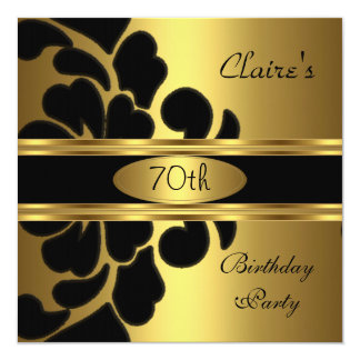70th Birthday Party Gold Black Floral Invite