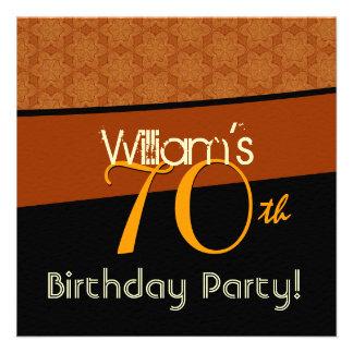 70th Birthday Party Gold Orange Black Pattern Custom Invitations