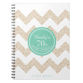 70th Birthday Party Guest Book - Choose your Color Note Books