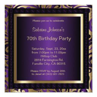 70th Birthday Party 13 Cm X 13 Cm Square Invitation Card